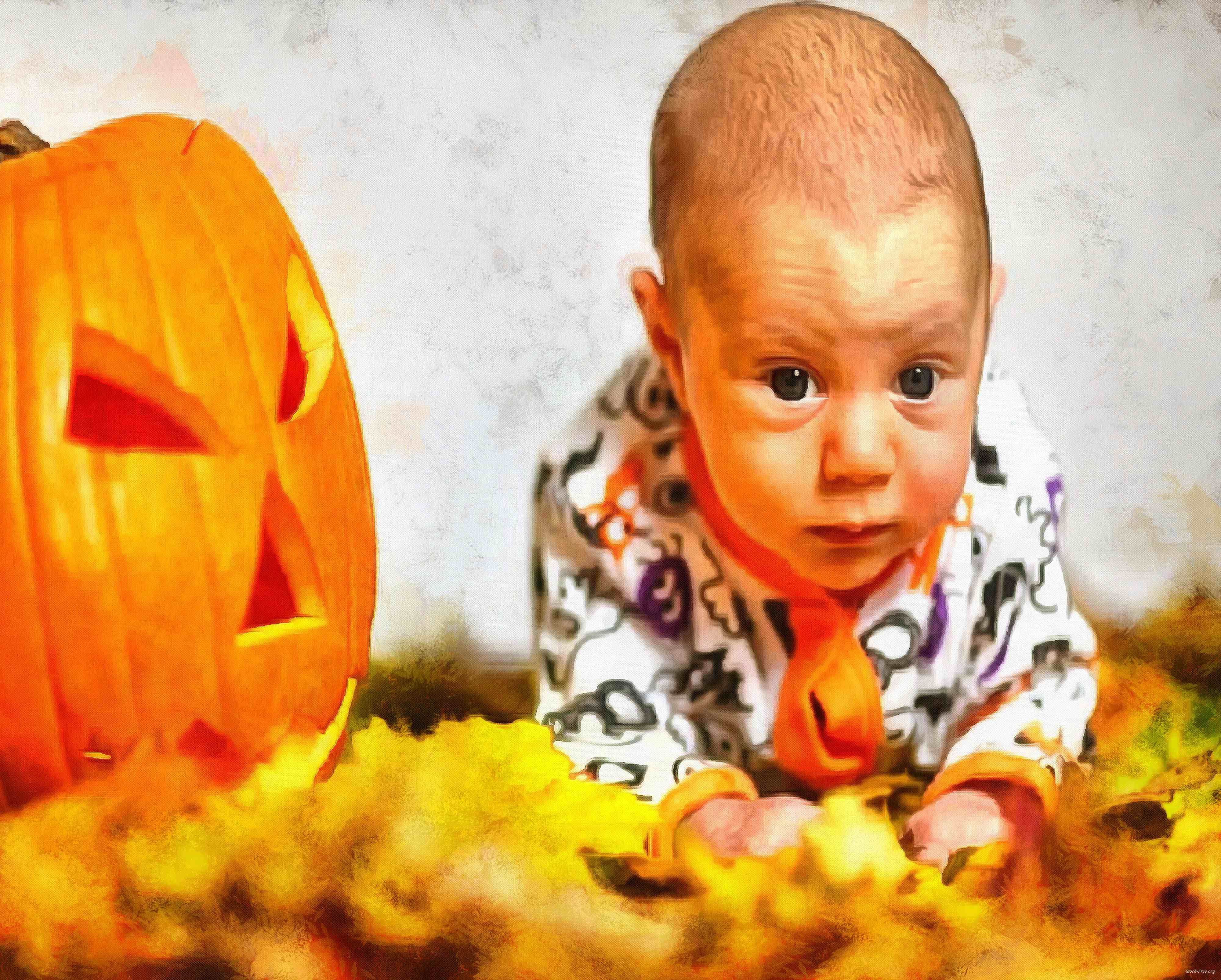 child, baby, toddler, pumpkin, halloween - halloween free image, free images, public domain images, stock free images, download image for free, halloween stock free images!