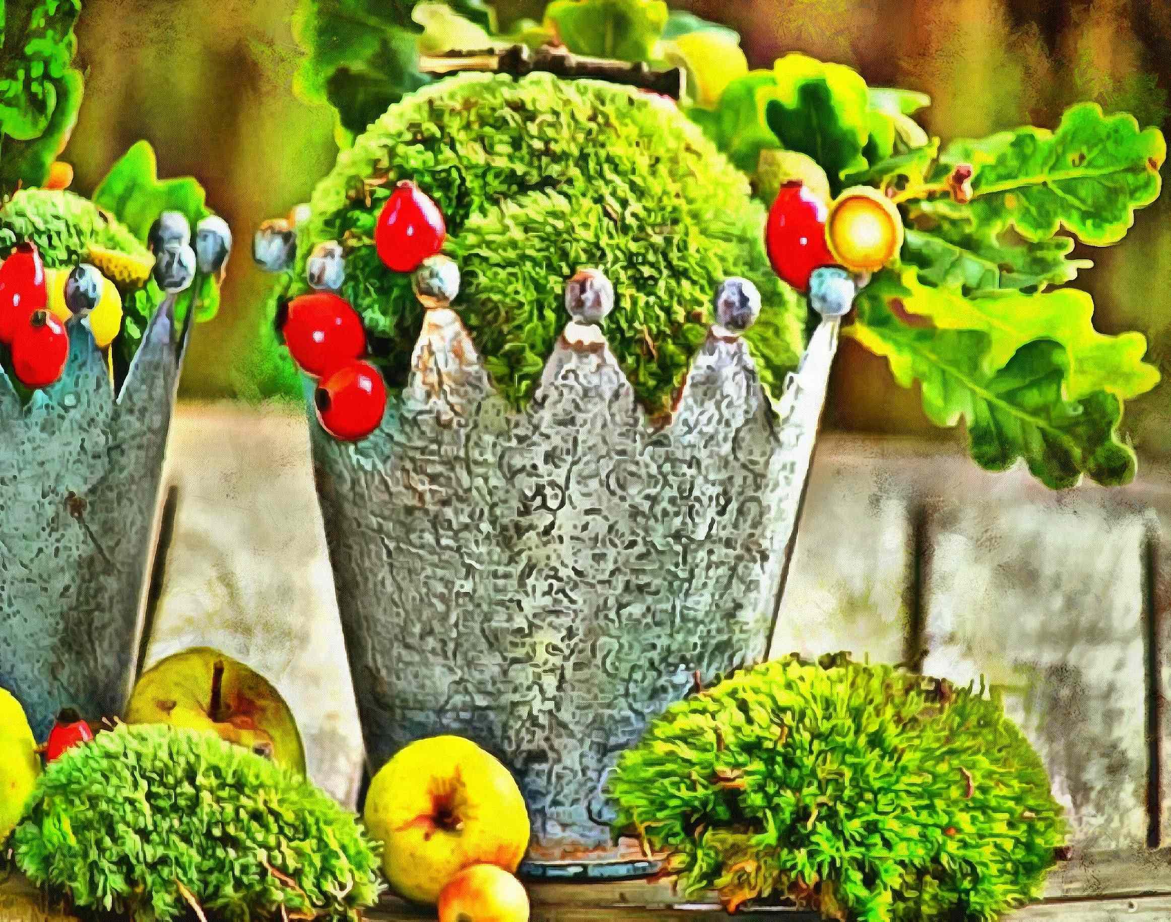 <br>green, crown, leaves, apple