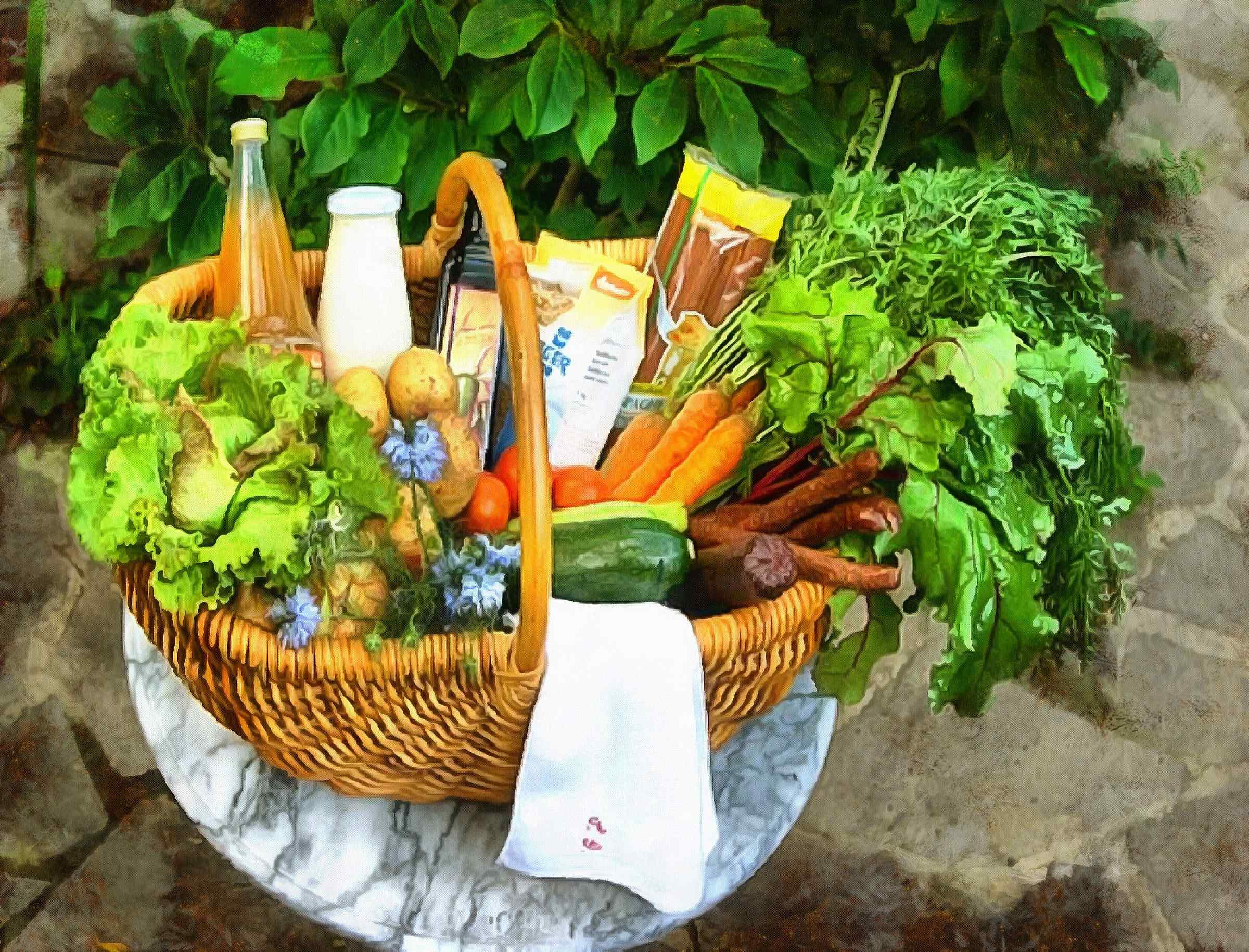 basket, food, beverages, vegetables,