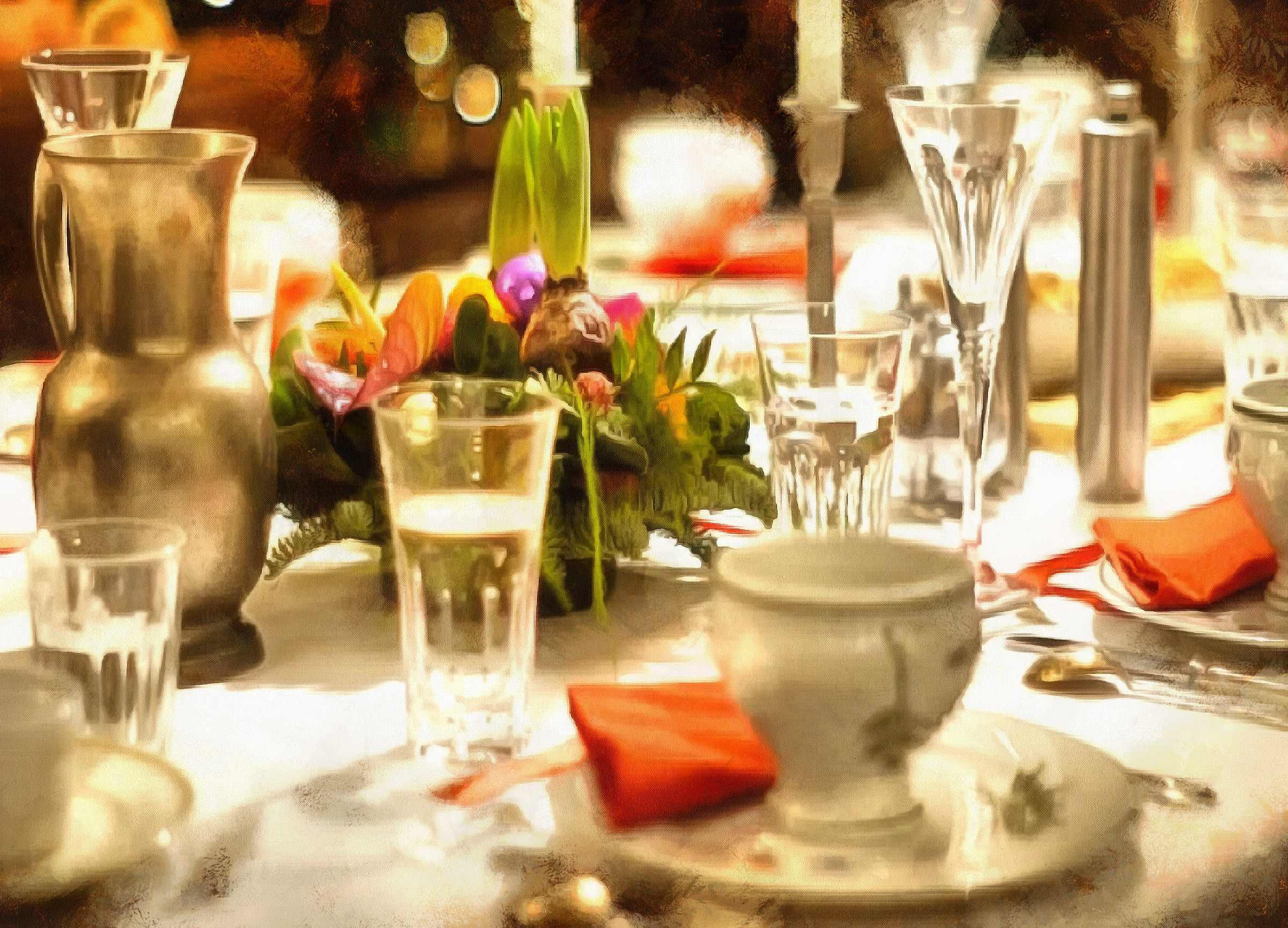 <br>table, meal, dishes, glasses, tablecloths,