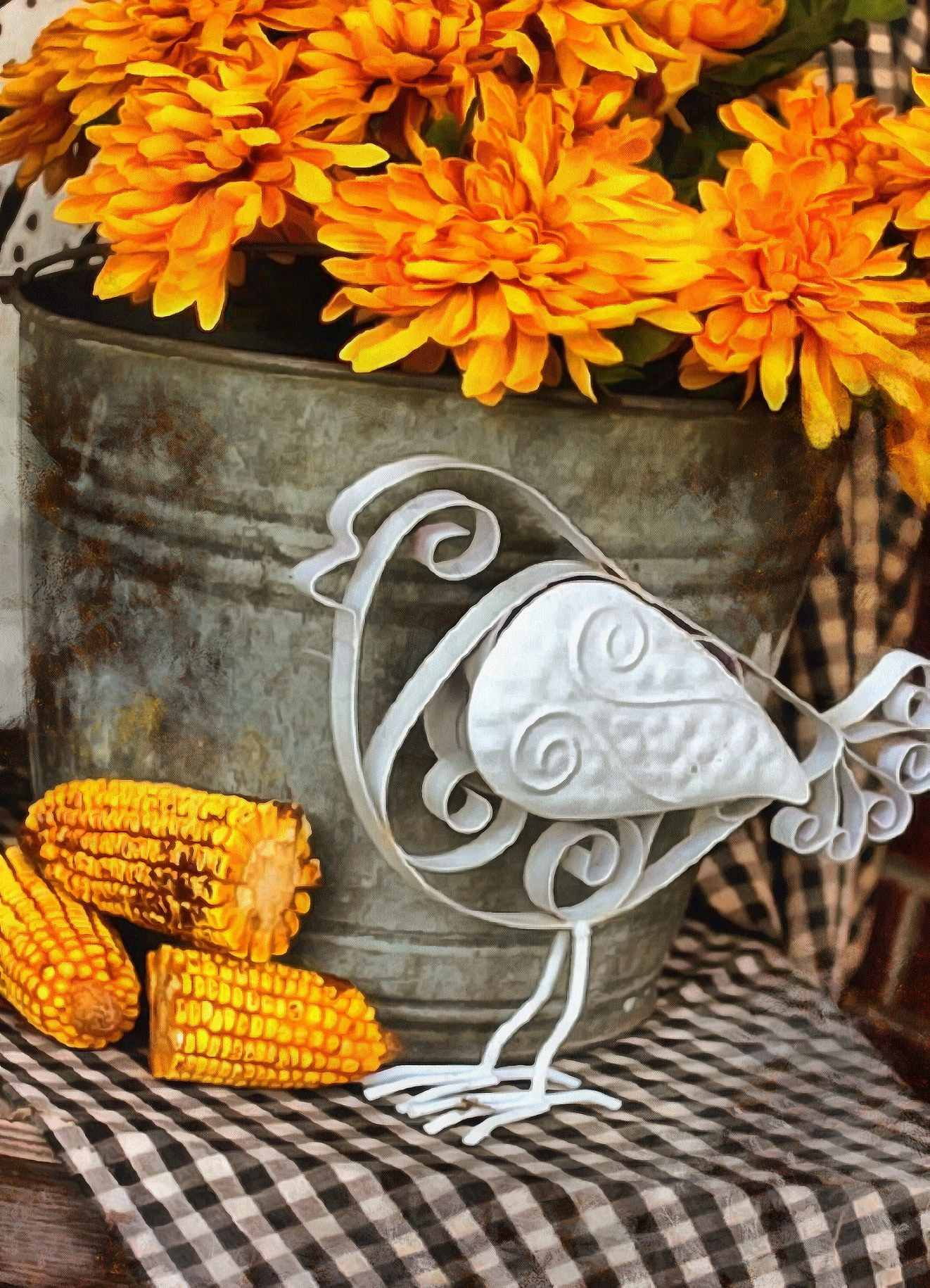bird, corn, bucket, flowers,