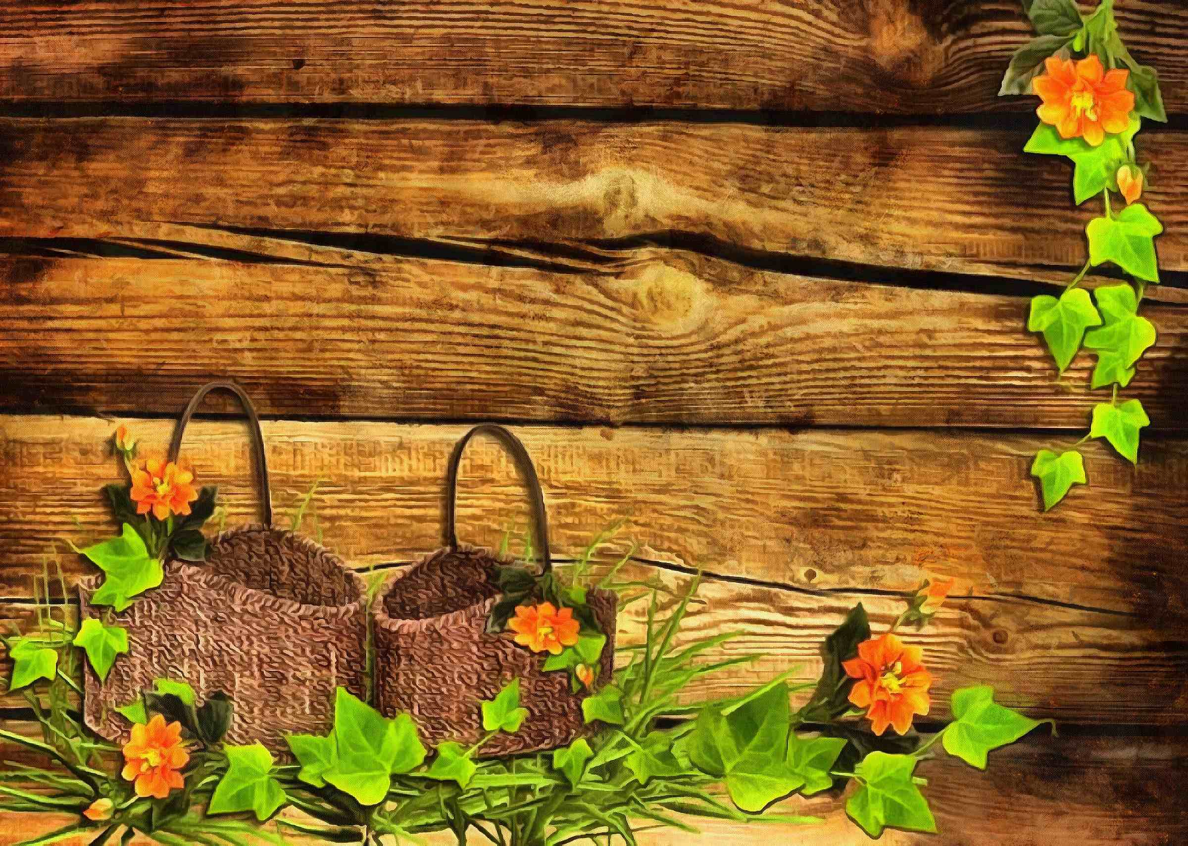 <br>baskets, wooden wall, leaves,