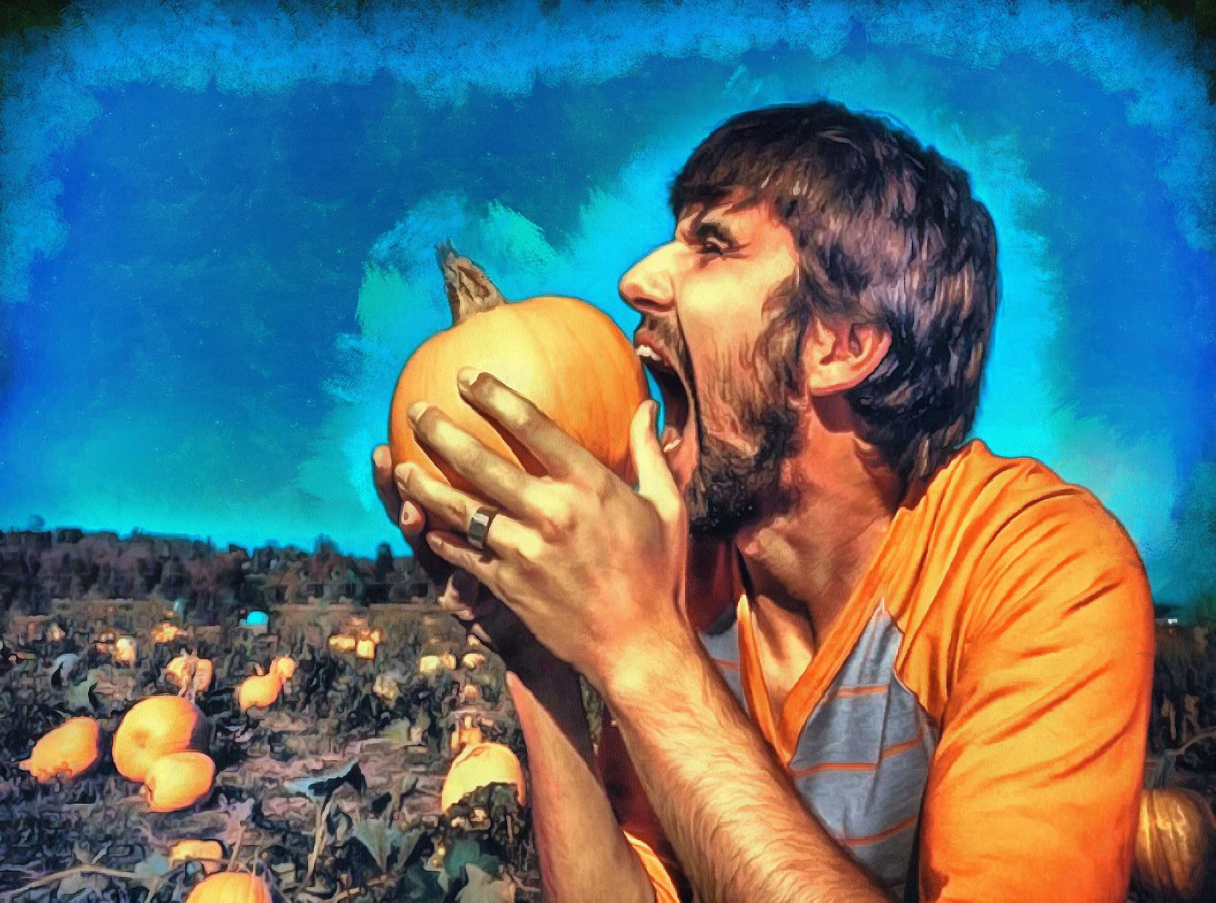 hungry, pumpkins, eat pumpkin, man, holiday,