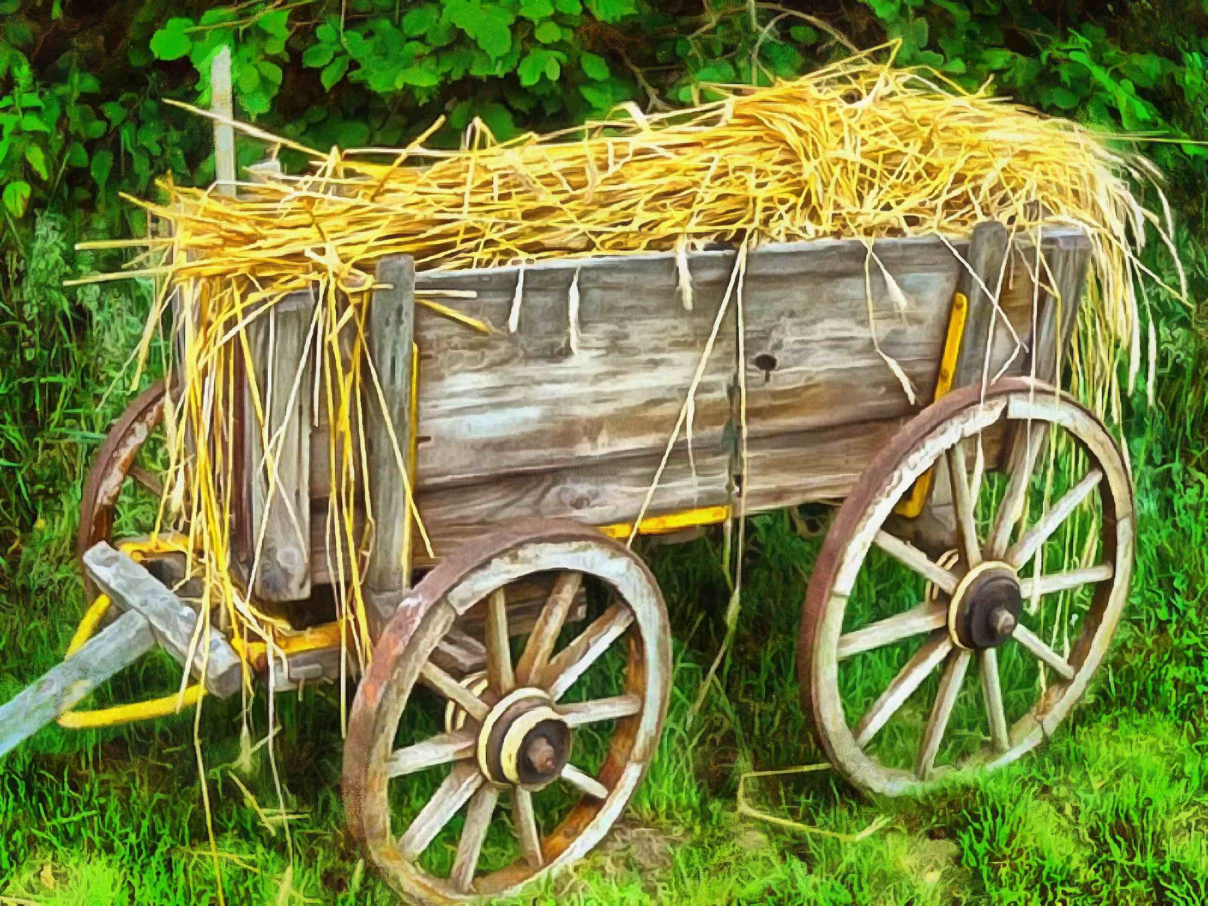 cart, straw, hay, wagon with straw,