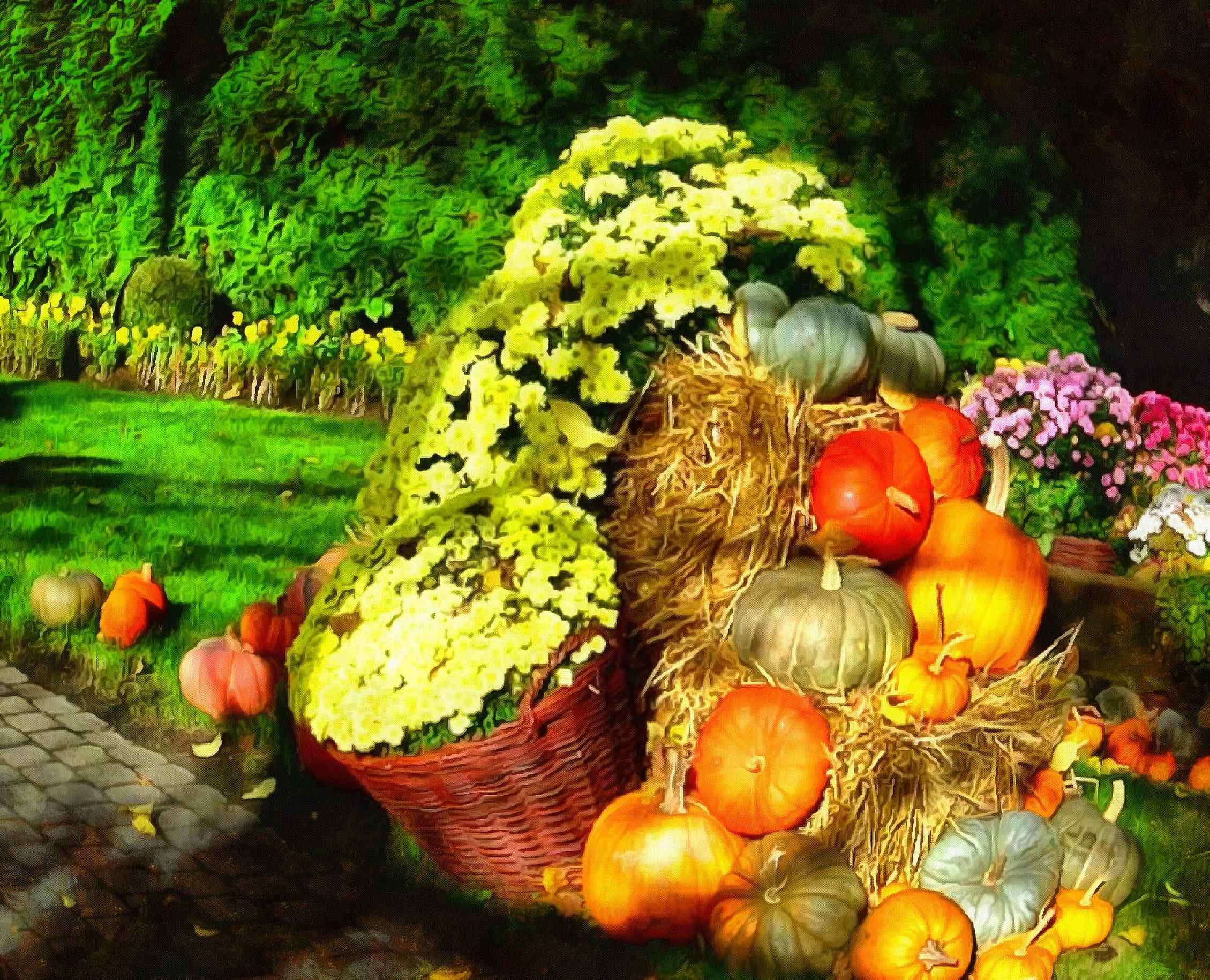 <br>flowers, pumpkins, harvest,