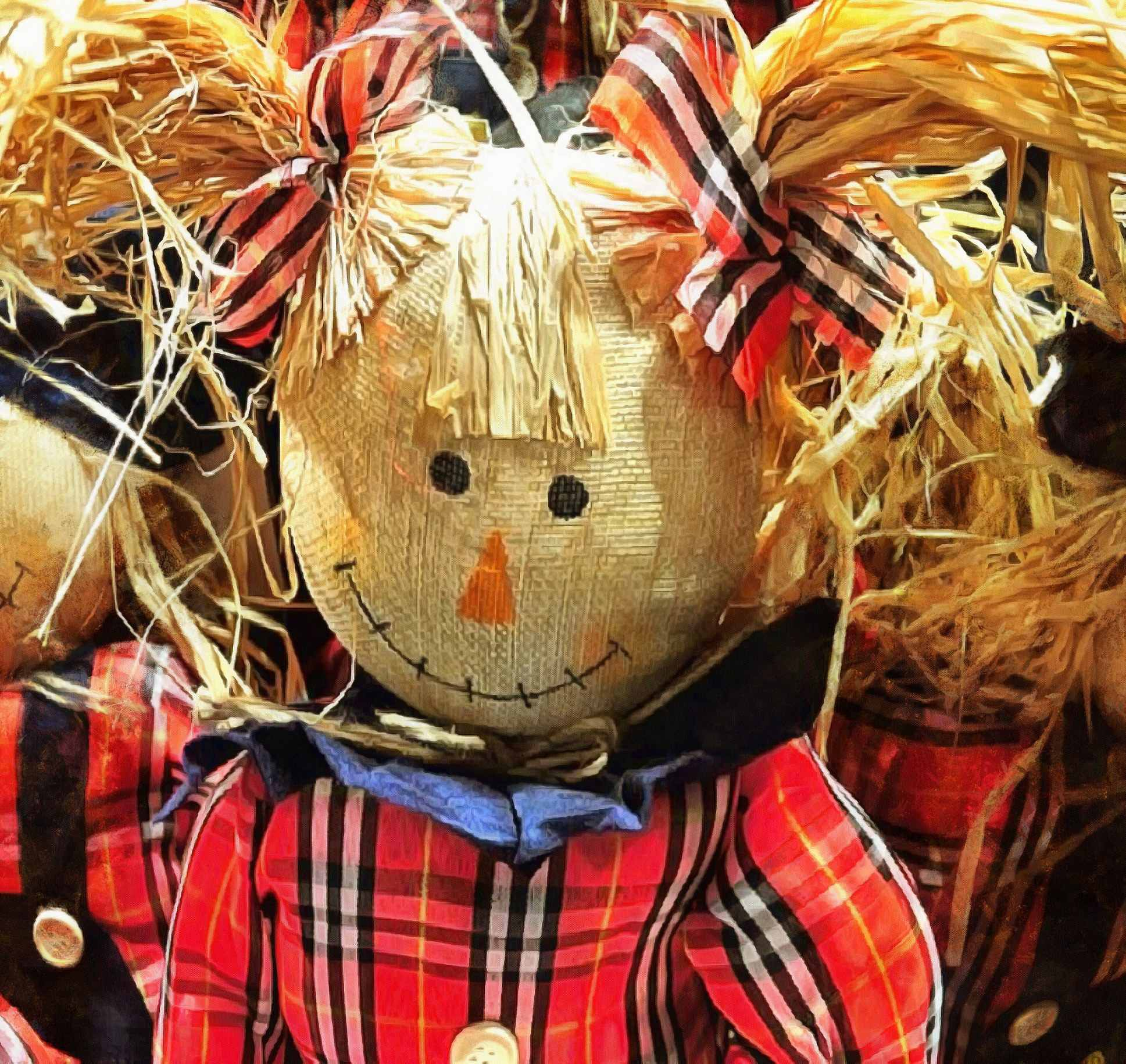 smile, girl puppet, scarecrow,