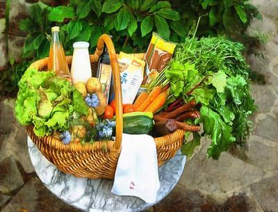basket, food, beverages, vegetables,