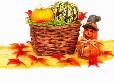basket, pumpkin, holiday, smile, candle, Halloween pumpkin
