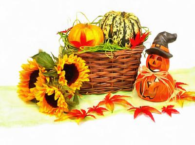 basket, pumpkins, holiday, smile, candle, Halloween pumpkin
