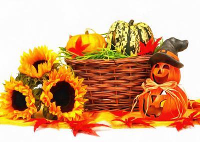 basket sunflowers, leaves, pumpkin, holiday, smile, candle, Halloween pumpkin