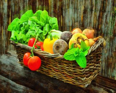 basket, vegetables, tomatoes, mint, vintage, peppers, beets, greens,