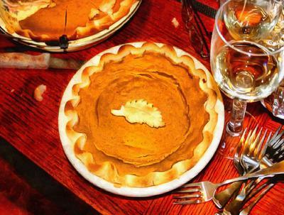 cake, birthday cake, apple pie, utensils, forks, glasses,