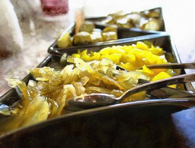 food, sweets, apples, sweet sauce, utensils,