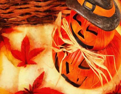 holiday basket, pumpkins, holiday, smile, candle, Halloween pumpkin
