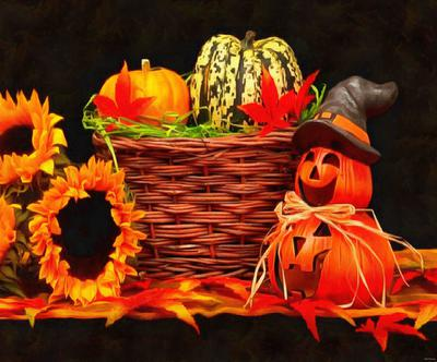 holiday basket, pumpkins, holiday, smile, candle, Halloween pumpkin