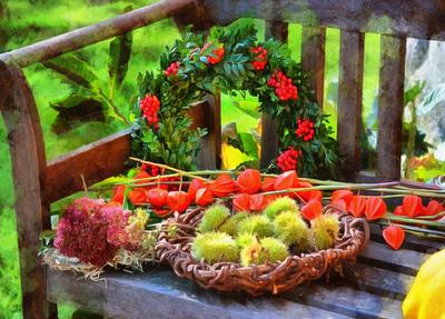 holiday wreath, bench, flowers,