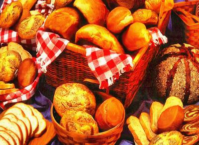 muffins, pastries, bread, bread products, bread, table