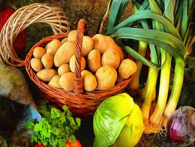potatoes, vegetables, onions, basket, potatoes, table,