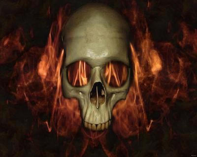 skull, head, bones, horror, halloween, fire