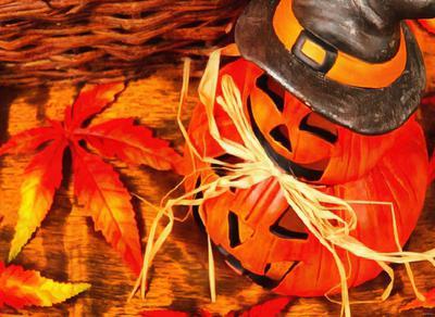 basket , leaves, pumpkin, holiday, smile, candle, Halloween pumpkin
