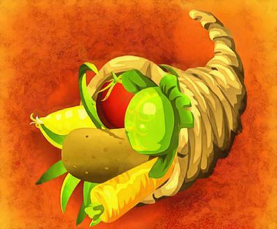 Cornucopia, prosperity, fruits, vegetables, a lot of things,
