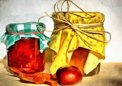 jam bottle of jam, honey, sweets, snacks,
