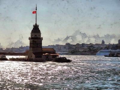 lighthouse, building, Strait, water, turkey, turkey country,